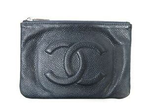 Authentic CHANEL Caviar Skin Pouch Navy Leather With Box 92697 B
