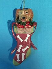 Hound Dog in Christmas Bone Stocking Ornament w Chenille Paws Hand Painted