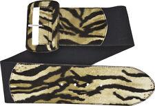 67058 Tiger Print Black Wide Stretch Belt Sourpuss Rockabilly Punk Animal Large