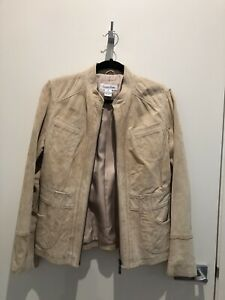CALVIN KLEIN Brand New Fitted Suede jacket Size M - Sesame