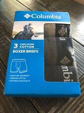Columbia Mens SIZE SMALL All Cotton 3 Pk Boxer Brief Black Charcoal Gray Box Set