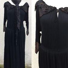 TRUE VINTAGE JANICE WAINWRIGHT BLACK CREPE BRONZE DECO 20's DRESS DESIGNER