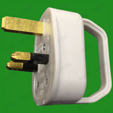 White 13A UK 3 Pin Mains Easy Pull Plug Remove Grip Handle, Elderly, Disability