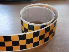Negro + Amarillo Checker Cinta - 4 Pies X 2 In - 3 Plazas / Chequer Stripe