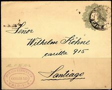 CHILE 1912 VALDIVIA TO SANTIAGO ON 10 CENTAVOS POSTAL COVER