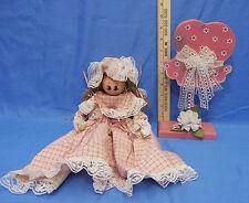 Vintage Folk Art Handmade Wood Doll Shelf Sitter & Decorative Wood Hat Holder