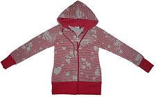 "Girls Size 14 Stripey Heart Zip Through Red Hoody New Warm ""Feel the Love"""