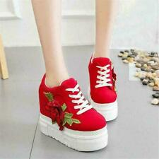 New Women's Lace Up Embroidery Flower Sneakers Platform Wedge High Heel Shoes HA