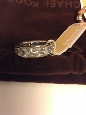 MICHAEL KORS MKJ4751 Park Avenue Clear Baguette Crystal Silver-Tone Ring Size 7