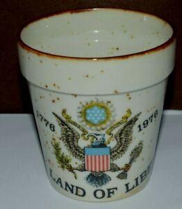 "Decorative Flower Vase Plant Pot Small ""Land of Liberty 1776-1976"" 3.5"" Tall GC!"