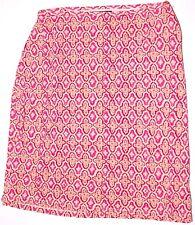 Ann Taylor Petites Skirt 8P Pink Beige Ecru Geometric Floral Beaded Hem Rayon