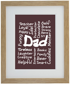 Father Dad Gift High Quality Dad's Love Print, Mounted, Framed Picture Décor