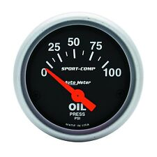 "Auto Meter Sport-Comp Electric Oil Pressure Press Gauge 2-1/16"" (52mm) 0-100 Psi"