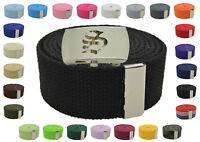 """Canvas Military Web Belt & BIG """"S"""" Silver Buckle 48, 54, 60, 72 Inches 25 Color"""