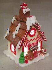 "Gingerbread House White Christmas LED Light Up Candy Clay-dough 7.5"" Kurt Adler"