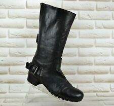 VIC MATIE Womens Black Leather Mid-Calf Heeled Boots Made Italy Size 5 UK 38 EU