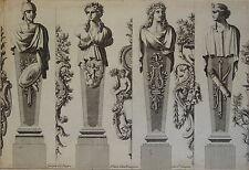 GRAVURE XVII° CARIATIDE BAROQUE ORNEMENT LOUIS XIV JEAN LE PAUTRE 1618-1682 d