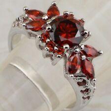 Gems Jewelry Fashion Lady Ring K2072 Size 7.5 Super Gallant Nice Garnet Red