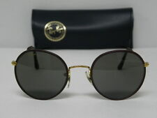 Vintage B&L Ray Ban Round Metal Leathers Burgundy/Brown 49mm Sunglasses USA