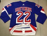 Men's AUTHENTIC ADIDAS NY RANGERS Sz 50 #22 SHATTENKIRK HOCKEY JERSEY NHL blue