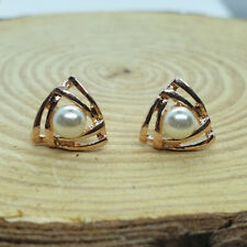 Shiny 14K/14ct Rose Gold PLT Cute Cutout 2 Triangle Pearl Stud Earrings Gift UK