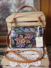 NWT~ VALENTINA ITALY ~ BLACK FLORAL PEBBLED & TAN LEATHER SATCHEL CROSSBODY BAG