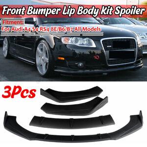 Matte Black Car Front Bumper Lip Spoiler For AUDI A3 A4 8E B6 B7 RS4 S3 S4 TT
