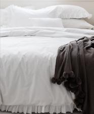 Hamptons White Shabby Ruffles 100% Cotton King Doona Duvet Quilt Cover Set Chic