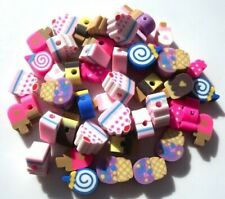40 MIXED FIMO CLAY CAKES ICECREAMS SWEETS CANDY BEADS - 10MM = FAST FREE P&P