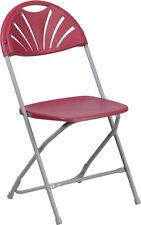 (10 PACK)650Lb Capacity Commercial Grade Fan Back Burgundy Plastic Folding Chair