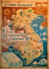 Indochina Union of France Map Reproduction Vintage Travel Poster