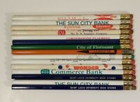 Vintage Assorted Advertising Wood Pencil Ad Tip Pencils Lot of 15