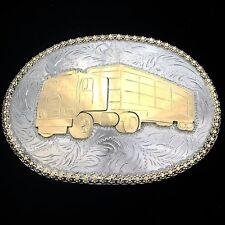 Trophy Belt Buckle Gold Big Rig Hand Engraved Silver