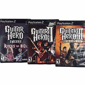 """PS 2 (3)Guitar Hero 3 Legends of Rock, Guitar Hero 2, GH  Rocks the 80"""" Lot of 3"""