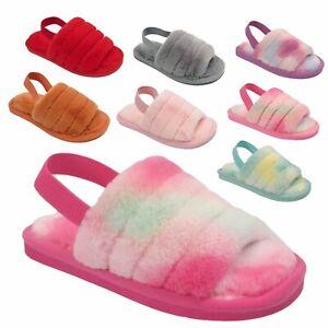 Girls Furry Slippers Kids Sliders Fluffy Fur Mule Children Flip Flop Shoes Size