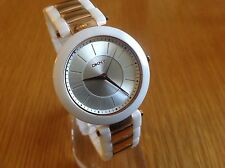 DKNY Ladies Stanhope Three Hand Dial White Ceramic And RoseGold Watch NY2290