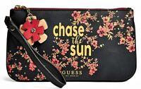 NWT GUESS WRISTLET BAG Black Floral Logo Clutch Pouch Handbag Wallet GENUINE
