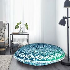 """Ottoman Handmade 32"""" Cover Patchwork Footstool Round Vintage Floor Pouf US"""
