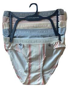 Lucky Brand Women Bikini Underwear Panties 5 Pair Soft LOGO WAIST SMALL $60 MSRP
