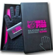 GRILL PIGS BBQ Grilling Gloves Silicone Rubber Heat Resistant Designer Boxed Set