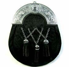 New Cross chain Sporran Brass Cantle Scottish Kilt Wallet 100% Leather UK SELLER