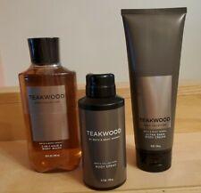 Bath & Body Works Teakwood Gift Set of 3, Cream, Deodorizing Spray, Body Wash
