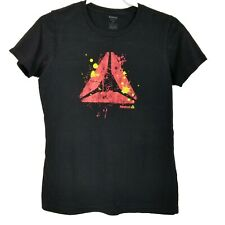 Reebok Mens Delta Logo T-Shirt Black with Red  M