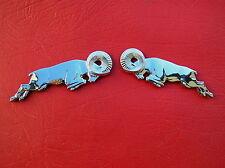 DODGE LEAPING RAM PAIR CAR PICKUP EMBLEMS - 2 Chrome Metal Fender Badges  *NEW