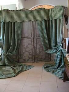 Antique French Striped Ticking Fabric Cotton / Linen   Curtains