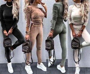 Womens Ladies Velvet Velour High Neck Ruched String Loungewear Tracksuit Jogsuit