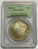 1882-S $1 Morgan Silver Dollar PCGS MS 64 DMPL in OGH