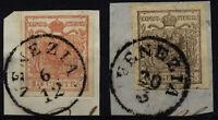 LOMBARDEI-VENETIEN 1850 2Marke:15C und 30C. Beide HP, Type III. VENEZIA
