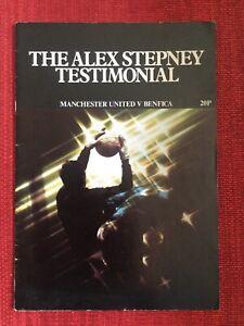 Alex Stepney Genuine Signed Testimonial Programme, 1977 Man Utd v Benfica