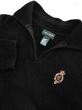 RALPH LAUREN Men's Black Mock Neck Sweater Size Medium M EUC 100% Cotton Crest